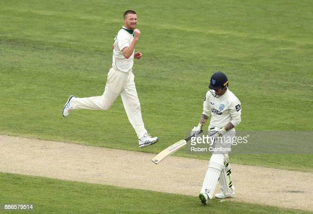 Jackson Bird of Tasmania celebrates after taking the wicket of Nic Maddinson of NSW during day four of the Sheffield Shield match between New South...