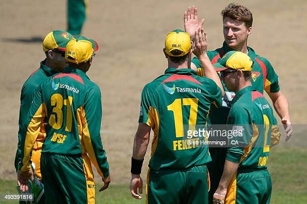 Jackson Bird of Tasmania celebrates after taking the wicket of Matthew Wade of Victoria during the Matador BBQs One Day Cup match between Tasmania...