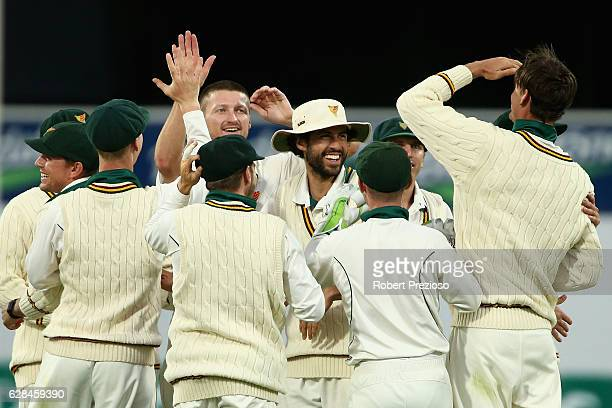 Jackson Bird of Tasmania celebrates the wicket of Sam Harper of Victoria during day four of the Sheffield Shield match between Tasmania and Victoria...