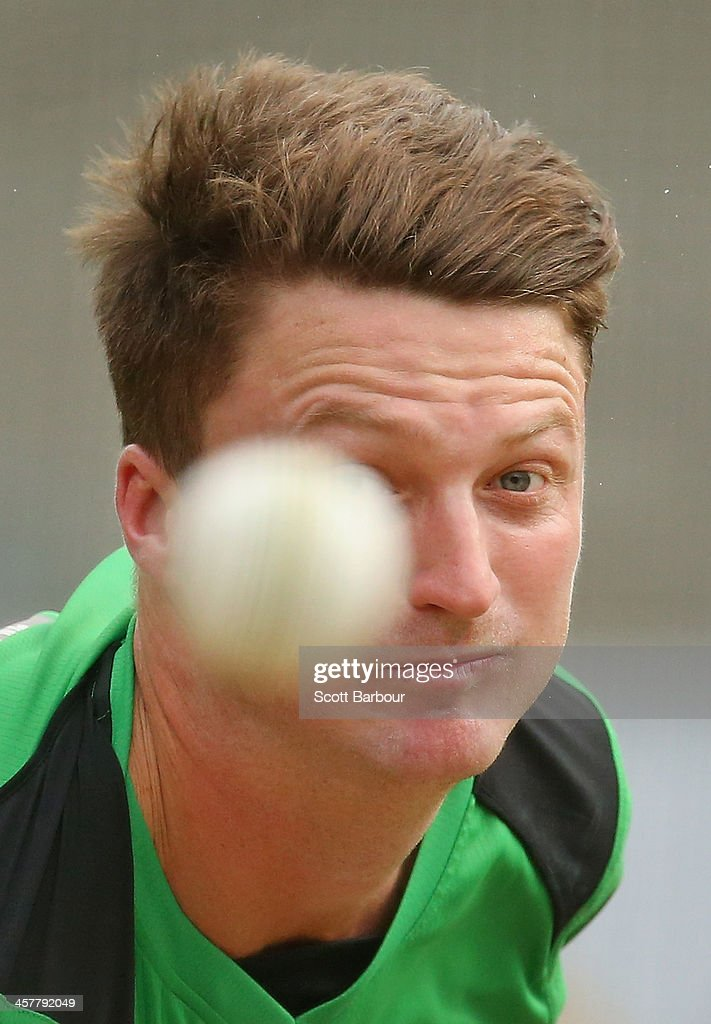 Jackson Bird of the Stars bowls during a Melbourne Stars Big Bash League training session at the Melbourne Cricket Ground on December 19, 2013 in Melbourne, Australia.