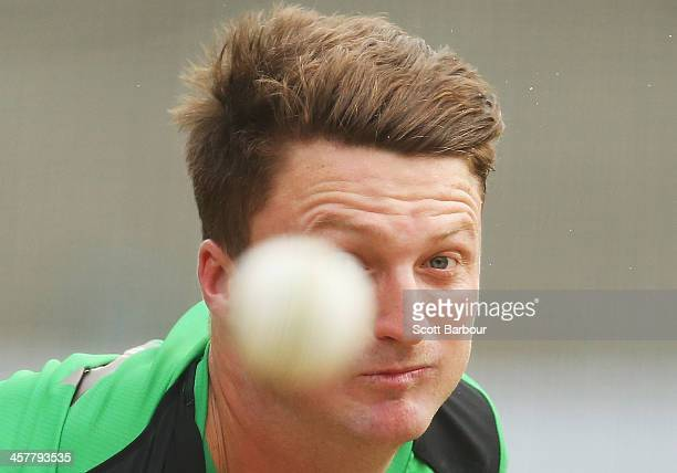 Jackson Bird of the Stars bowls during a Melbourne Stars Big Bash League training session at the Melbourne Cricket Ground on December 19 2013 in...