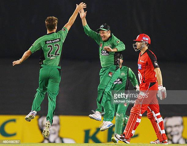 Jackson Bird of the Stars celebrates his dismissal of Ben Rohrer of the Renegades with David Hussey during the Big Bash League match between the...