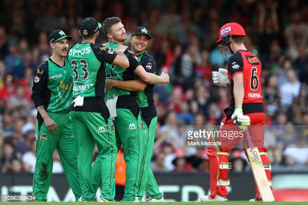 Jackson Bird of the Stars celebrates taking the wicket of Sam Harper of the Renegades during the Big Bash League match between the Melbourne...