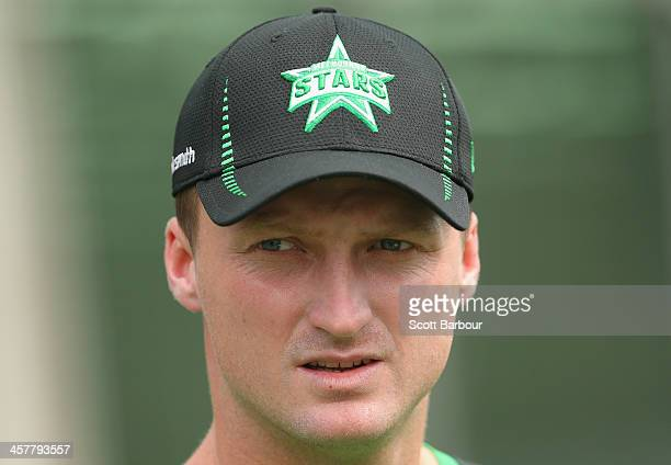 Jackson Bird of the Stars looks on during a Melbourne Stars Big Bash League training session at the Melbourne Cricket Ground on December 19 2013 in...