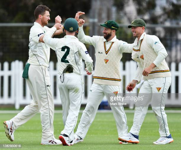 Jackson Bird of the Tasmanian Tigers celebrates the wicket of Cameron Green of Western Australia with Jake Doran ,Matthew Wade and Ben McDermott of...