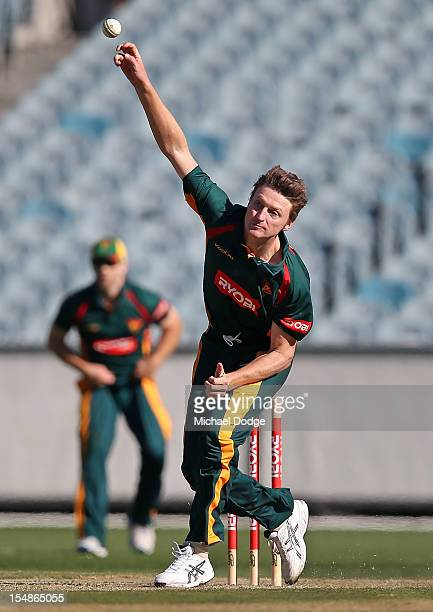 Jackson Bird of the Tigers bowls during the Ryobi One Day Cup match between Victorian Bushrangers and the Tasmanian Tigers at Melbourne Cricket...
