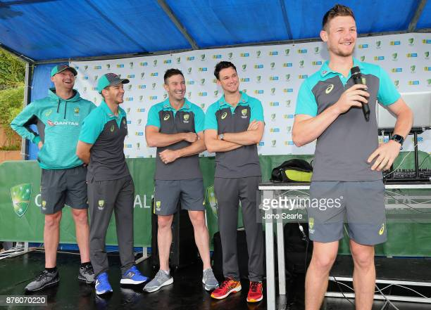 Jackson Bird Tim Paine Shaun Marsh Peter Handscomb and Cameron Bancroft attend the Brisbane Bupa Family Day on November 19 2017 in Brisbane Australia