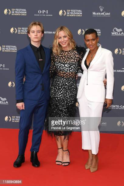 Jackson Blue McDermott Maria Bello and a guest attend the opening ceremony of the 59th Monte Carlo TV Festival on June 14 2019 in MonteCarlo Monaco
