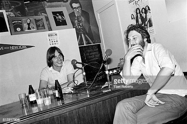 Jackson Browne and Peter Gordon of Thirsty Ear Records at the No Nukes Muse Party at Trax in New York City on February 18 1980