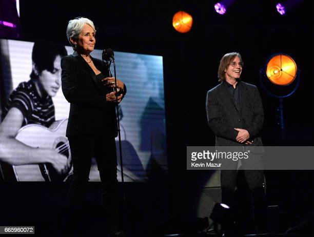 Jackson Browne inducts Joan Baez onstage during the 32nd Annual Rock Roll Hall Of Fame Induction Ceremony at Barclays Center on April 7 2017 in New...