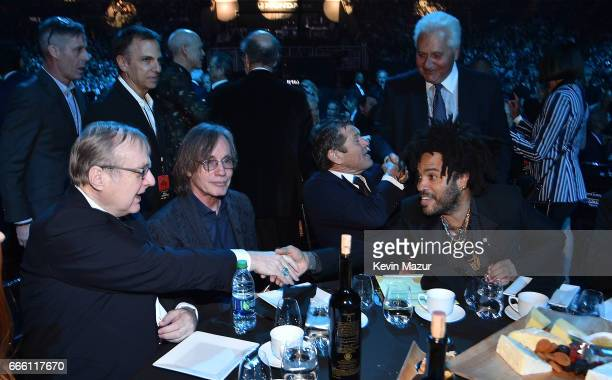 Jackson Browne Jann Wenner and Lenny Kravitz attend 32nd Annual Rock Roll Hall Of Fame Induction Ceremony at Barclays Center on April 7 2017 in New...