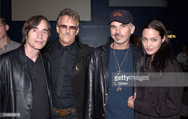 Jackson Browne Kris Kristofferson Billy Bob Thornton and Angelina Jolie at the concert of John Trudell to celebrate the release of his new album'Bone...