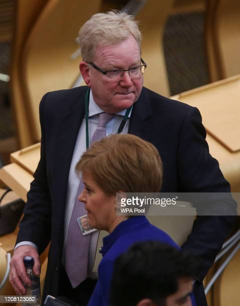 Jackson Carlaw Scottish Conservative Leader looks on during First Ministers Questions at Holyrood on March 24 2020 in Edinburgh Scotland