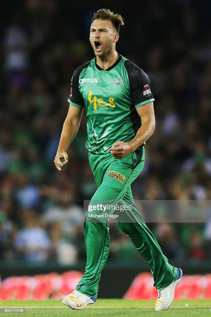 Jackson Coleman of the Stars celebrates the wicket of Marcus Harris of the Renegades during the Big Bash League match between the Melbourne Renegades and the Melbourne Stars at Etihad Stadium on January 12, 2018 in Melbourne, Australia.