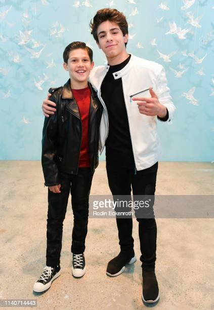 Jackson Dollinger and Brandon Rossel pose for portrait at WonderWorld Hollywood and Experience PopUp Opening Night Party on April 05 2019 in...