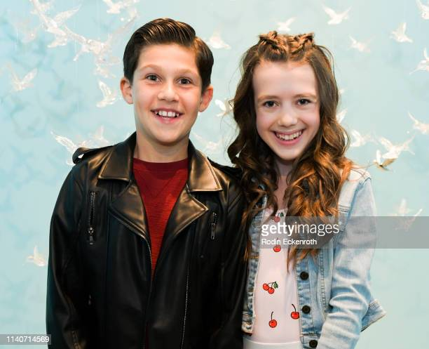 Jackson Dollinger and Symonne Harrison pose for portrait at WonderWorld Hollywood and Experience PopUp Opening Night Party on April 05 2019 in...