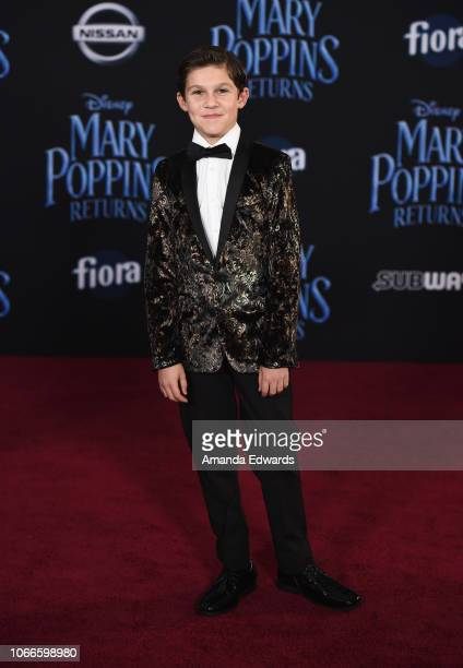Jackson Dollinger arrives at the premiere of Disney's Mary Poppins Returns at the El Capitan Theatre on November 29 2018 in Los Angeles California
