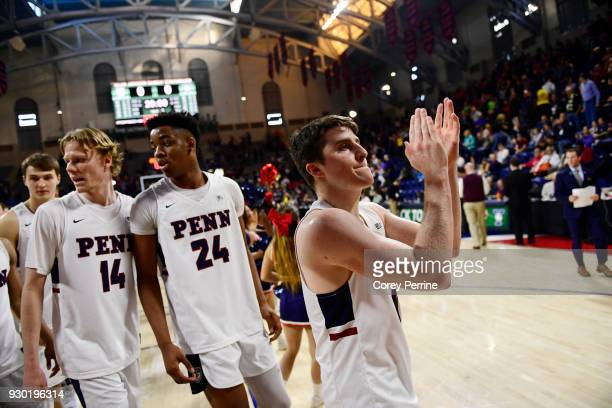 Jackson Donahue of the Pennsylvania Quakers claps after the win against the Yale Bulldogs of a semifinal round matchup in the Ivy League Men's...