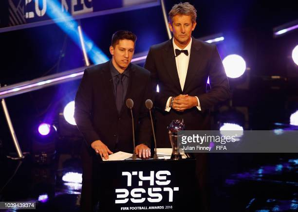 Jackson Follmann and Edwin van der Sar presents The Best FIFA Goalkeeper Award during The Best FIFA Football Awards at Royal Festival Hall on...
