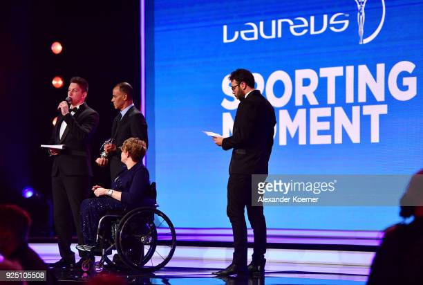 Jackson Follmann of Chapecoense speaks with the award for Laureus Best Sporting Moment of The Year 2018 during the 2018 Laureus World Sports Awards...
