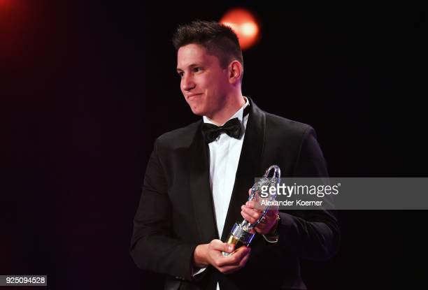 Jackson Follmann of Chapecoense with the award for Laureus Best Sporting Moment of The Year 2018 during the 2018 Laureus World Sports Awards show at...