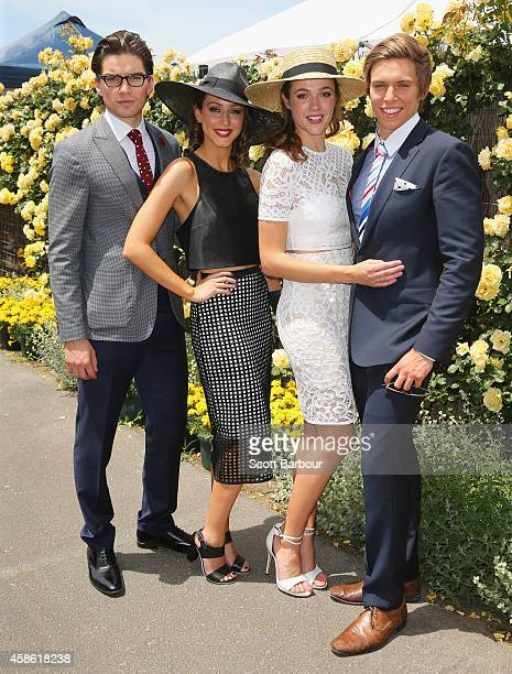 Jackson Gallagher Isabella Giovinazzo Demi Harman and Matt Little on Stakes Day at Flemington Racecourse on November 8 2014 in Melbourne Australia