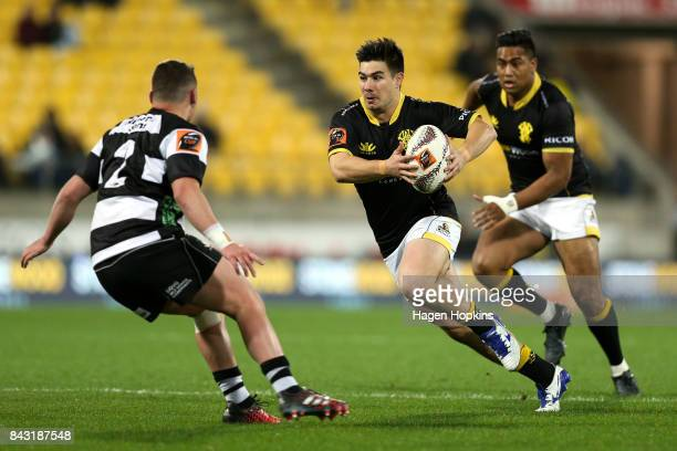 Jackson GardenBachop of Wellington looks to evade Jacob Devery of Hawke's Bay during the round four Mitre 10 Cup match between Wellington and Hawke's...