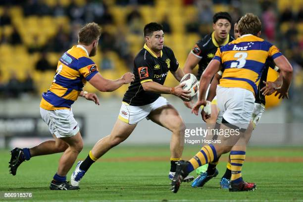 Jackson Garden-Bachop of Wellington looks to pass during the Mitre 10 Cup Championship Final match between Wellington and Bay of Plenty at Westpac...