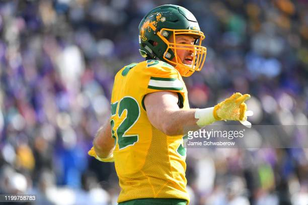 Jackson Hankey of the North Dakota State Bison reacts to a play against the James Madison Dukes during the Division I FCS Football Championship held...