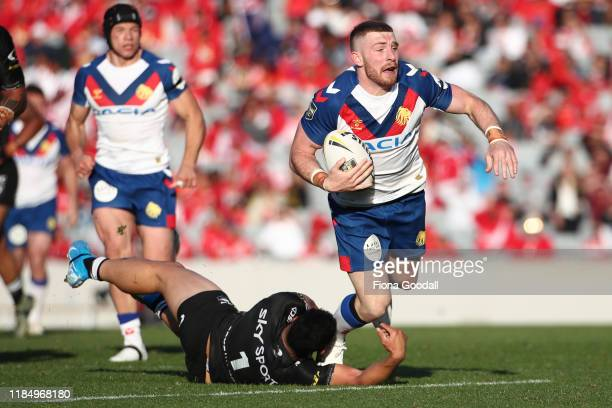 Jackson Hastings of Great Britain makes a break during the International Rugby League Test Match between the New Zealand Kiwis and the Great Britain...