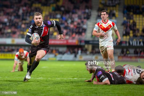 Jackson Hastings of Salford Red Devils goes over for another Salford try during the Catalans Dragons V Salford Red Devils Betfred Super League...
