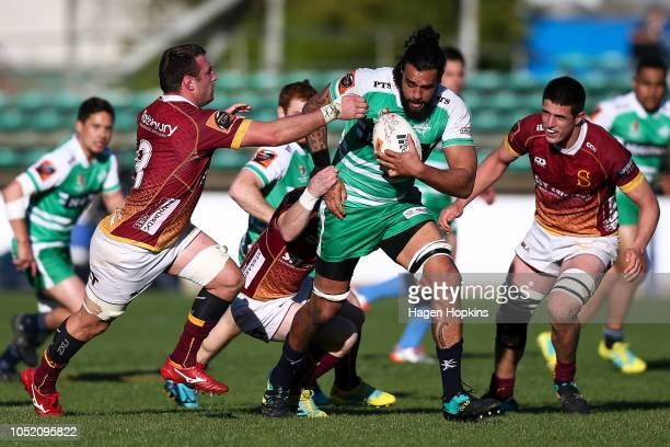 Jackson Hemopo of Manawatu is tackled during the round nine Mitre 10 Cup match between Manawatu and Southland at Central Energy Trust Arena on...