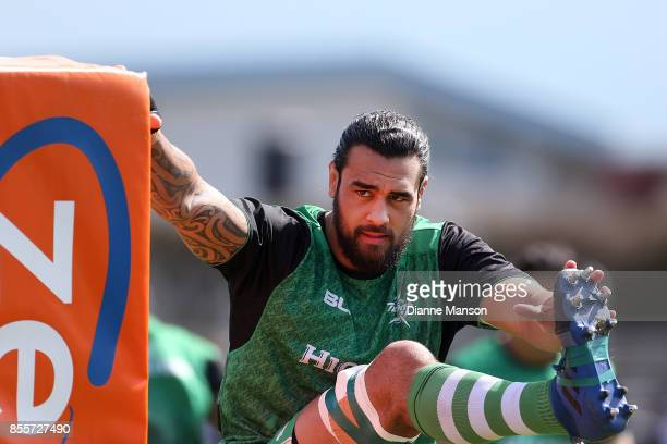 Jackson Hemopo of Manawatu looks on during team warm up ahead of the round seven Mitre 10 Cup match between Southland and Manawatu on September 30,...