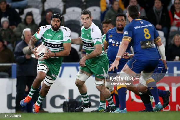 Jackson Hemopo of Manawatu runs the ball during the round 4 Mitre 10 Cup match between Otago and Manawatu at Forsyth Barr Stadium on August 30, 2019...