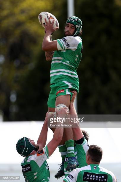 Jackson Hemopo of Manawatu secures the lineout ball during the round seven Mitre 10 Cup match between Southland and Manawatu on September 30, 2017 in...