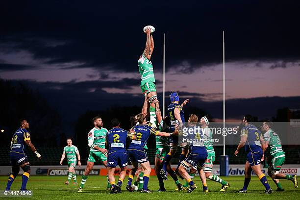Jackson Hemopo of Manawatu wins a lineout ball during the round nine ITM Cup match between Manawatu and Otago at Central Energy Trust Arena on...