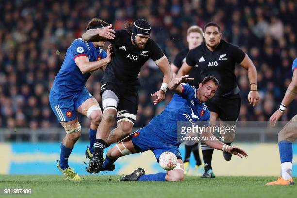 Jackson Hemopo of the All Blacks competes for the ball against Alexandre Lapandry of France during the International Test match between the New...