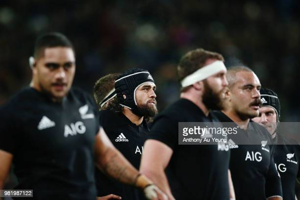 Jackson Hemopo of the All Blacks looks on during the International Test match between the New Zealand All Blacks and France at Forsyth Barr Stadium...