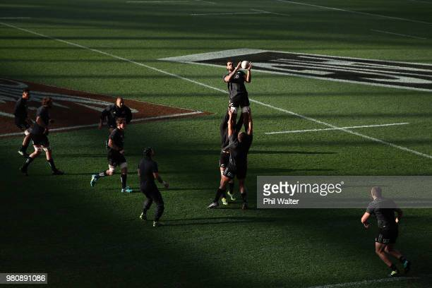 Jackson Hemopo of the All Blacks takes the ball in the lineout during the New Zealand All Blacks Captain's Run at Forsyth Barr Stadium on June 22,...