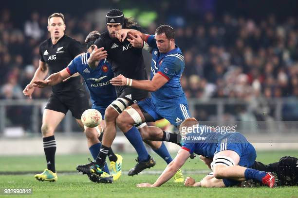 Jackson Hemopo of the New Zealand All Blacks chases the loose ball during the International Test match between the New Zealand All Blacks and France...