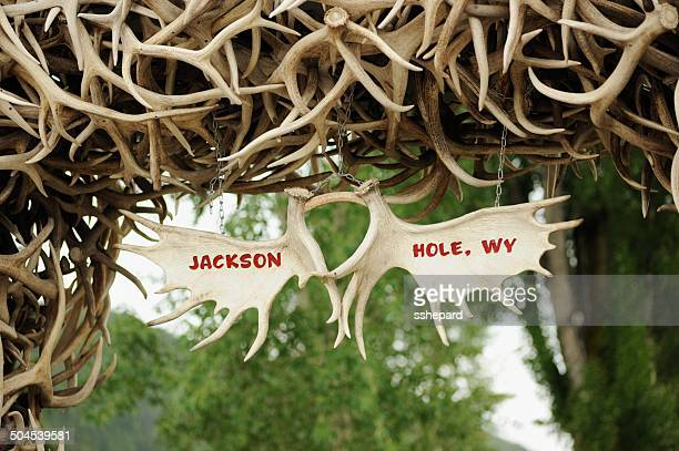 jackson hole wyoming antler sign - jackson hole stock pictures, royalty-free photos & images
