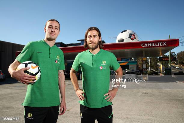 Jackson Irvine and Josh Brillante of the Socceroos pose during a Socceroos media opportunity on May 15 2018 in Sydney Australia Socceroos manager...