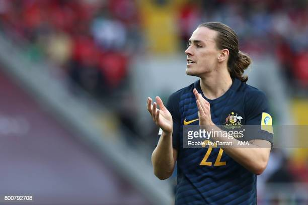 Jackson Irvine of Australia applauds during the FIFA Confederations Cup Russia 2017 Group B match between Chile and Australia at Spartak Stadium on...