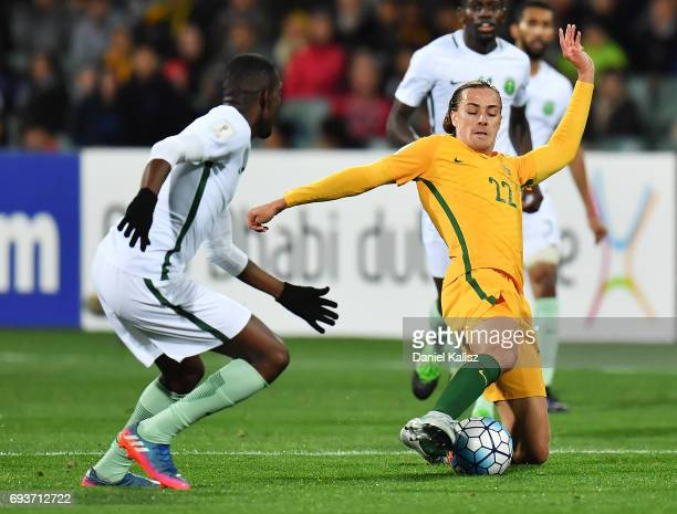 Jackson Irvine of Australia competes for the ball during the 2018 FIFA World Cup Qualifier match between the Australian Socceroos and Saudi Arabia at...