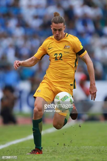 Jackson Irvine of Australia drives the ball during a first leg match between Honduras and Australia as part of FIFA World Cup Qualifiers Play Off at...