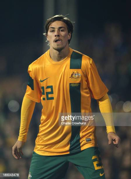 Jackson Irvine of Australia during the International Friendly match between Canada and Australia at Craven Cottage on October 15 2013 in London...