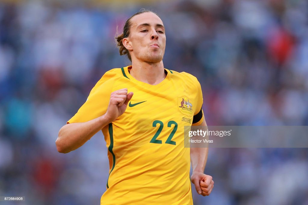 Jackson Irvine of Australia in action during a first leg match between Honduras and Australia as part of FIFA World Cup Qualifiers Play Off at Estadio Olimpico Metropolitano on November 10, 2017 in San Pedro Sula, Honduras.
