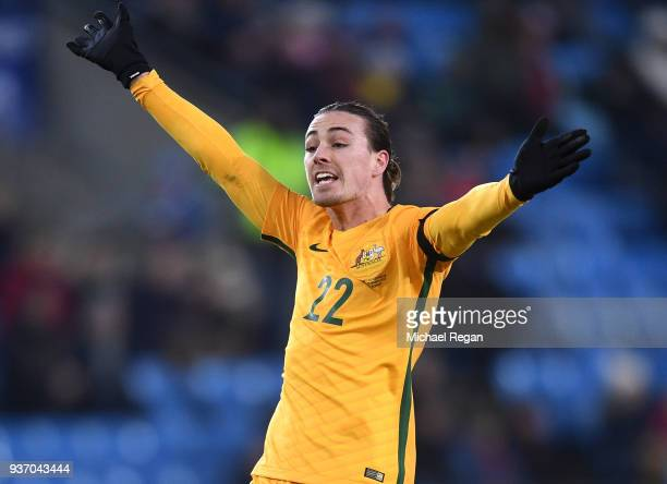 Jackson Irvine of Australia reacts during the International Friendly match between Norway and Australia at Ullevaal Stadion on March 23 2018 in Oslo...