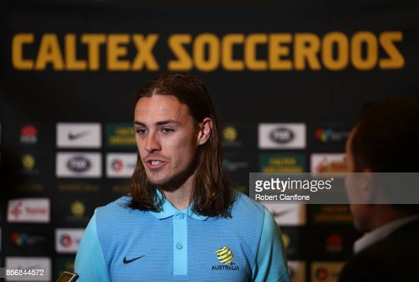 Jackson Irvine of Australia speaks to the media during an Australia Socceroos media opportunity on October 3 2017 in Malacca Malaysia