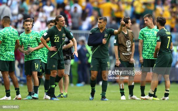 Jackson Irvine of Australia speaks with Andrew Nabbout of Australia after the 2018 FIFA World Cup Russia group C match between Denmark and Australia...